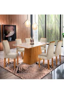 Conjunto De Mesa De Jantar Com Vidro E 6 Cadeiras Sevilha L Jacquard Off White E Bege