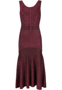 Ginger & Smart Vestido Metalizado De Tricô - Vermelho