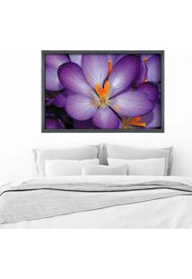 Quadro Love Decor Com Moldura Violetas Grafitti Metalizado Grande