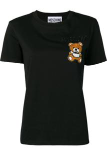Moschino Camisa Polo Com Bordado Bear - Preto