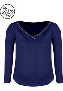 Blusa Linda D Raglan Malha Canelada Plus Size Azul (510)