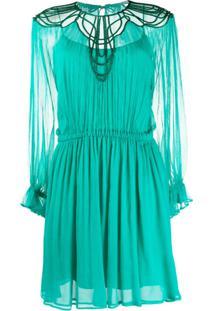 Alberta Ferretti Vestido De Festa Translúcida Com Bordado - Verde