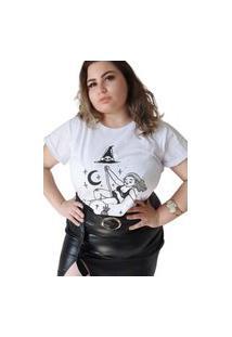 T-Shirt Almaria Plus Size Dellas Brasil Estampa Localizada Branco