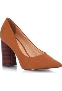 Sapato Salto Quadrado Bico Fino Ferrugem
