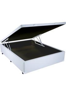 Cama Box Casal Com Baú Sonnoforte Corino Branco Com Pistão - 128X188