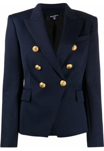 Balmain Double-Breasted Blazer Jacket - Azul