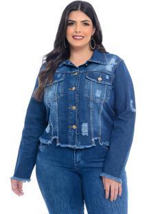 Jaqueta Jeans Plus Size Manifesto Boho Destroyed