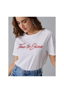 Amaro Feminino T-Shirt Time To Shine, Off-White