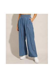 Calça Jeans Feminina Pantalona Wide Clochard Cintura Alta Alfaiatada Azul Médio