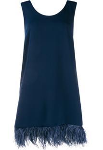 P.A.R.O.S.H. Vestido Reto Com Acabamento De Plumas - Azul