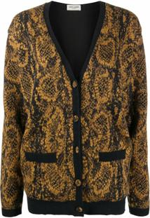 Saint Laurent Cardigan Com Estampa De Cobra - Preto