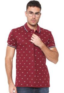 Camisa Polo Red Nose Reta Estampada Vinho