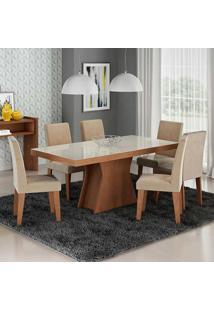 Conjunto De Mesa Olivia Para Sala De Jantar Com 6 Cadeiras Milena-Cimol - Savana / Off White / Sued Bege