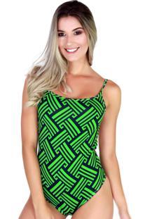 Body Cavado Collant Bravaa Modas Estampado 046 Verde