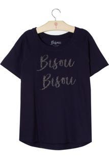 Blusa Le Lis Blanc Petit Bisu Bisu Malha Azul Marinho Feminina (Marinho, 12)