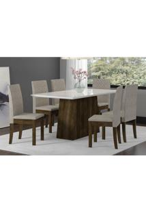 Conjunto Mesa Elegance Com 6 Cadeiras Cristal Sonetto Tampo De Vidro 160X90Cm - Rústico/Branco
