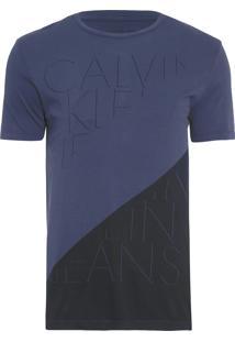 Camiseta Masculina Diagonal - Azul