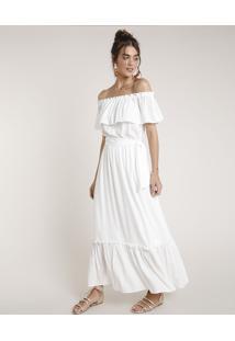 Vestido Feminino Água De Coco Longo Ciganinha Listrado Com Lurex Manga Curta Off White