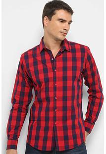 Camisa Xadrez Watkins & Krown - Masculino-Vermelho