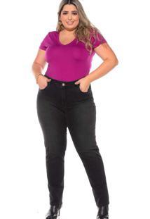 Calça Cigarrete Almaria Plus Size Fact Jeans Preto