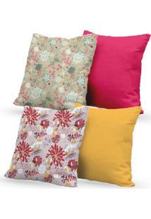 Kit 4 Capas De Almofadas Decorativas Own Floral Rosa E Amarelo 45X45 - Somente Capa