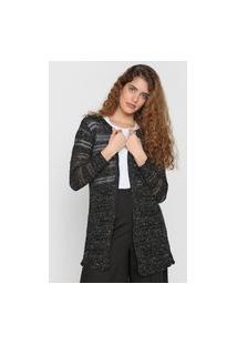 Cardigan Tricot Mercatto Textura Preto