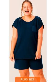 Pijama Azul Marinho Em Malha Texturizada Plus