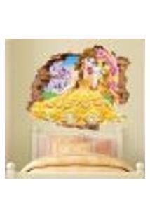 Adesivo De Parede Buraco Falso 3D Princesa Bela - Eg 100X122Cm