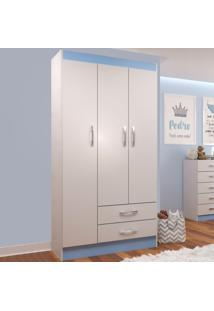 Guarda-Roupa Infantil 3 Portas 2 Gavetas If32Az Branco/Azul - Evidência Móveis