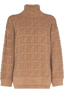 Fendi Suéter De Tricô Com Estampa Ff - Marrom
