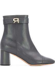 Rochas Ankle Boot De Couro Com Logo - Cinza