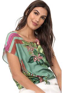 Blusa Mercatto Floral Verde/Rosa