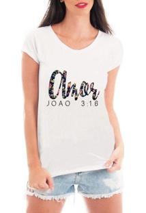 Camiseta Criativa Urbana Amor Gospel Texto - Feminino-Branco