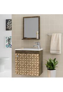 Gabinete Para Banheiro Com Cuba E Espelheira Siena Móveis Bechara Madeira Rústica/3D