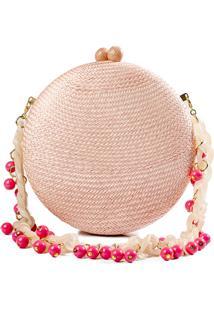 Clutch Serpui Marie Round Palha Rosa