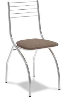 Cadeira Cromada Fred Camurça Conhaque