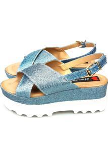 Anabela Love Shoes Alta Flat Form Tratorada Tiras Cruzada X Glitter Jeans