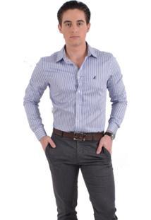 Camisa Social Listrada Masculina Slim - Masculino-Azul