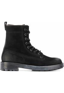Diesel Ankle Boot Com Cadarço - Preto