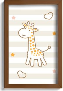 Quadro Infantil Girafa Quartinhos 22X32Cm Moldura Marrom - Tricae