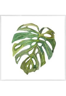 Quadro Decorativo Folhas- Branco & Verde- 40X40Cm