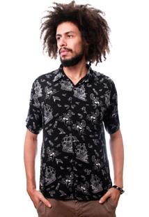 Camisa Andy Roll Clothing Folk Navy Preta