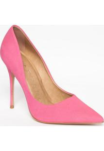 Scarpin Em Couro Acamurçado Com Recortes- Pink- Saltcarrano