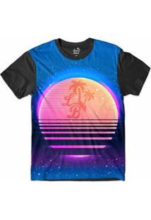 Camiseta Long Beach Psicodélica Sol Nascente Sublimada Masculina - Masculino-Azul+Preto