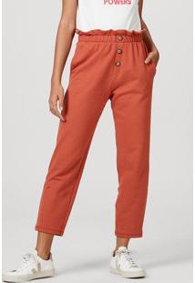 Calça Feminina Em Moletom De Algodão E Modelagem Carrot