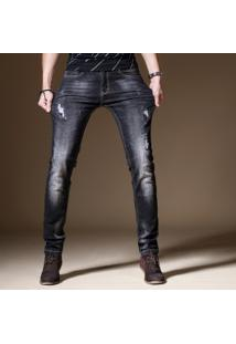 Calça Jeans Masculina Slim Com Puídos - Preto