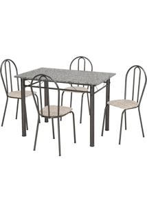 Conjunto De Mesa Monique Com 4 Cadeiras Craqueado Preto Rattan