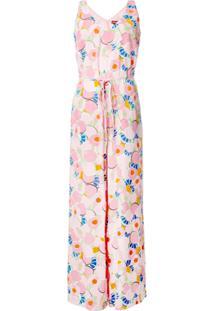 Staud Macacão Abstract Peach Blossom - Rosa