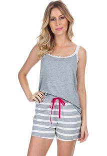 Short Doll Inspirate Com Renda Loving Strips Multicolorido Cinza - Tricae