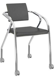 Cadeira Com Rodízios 1713 Cromada Napa/Preta Carraro
